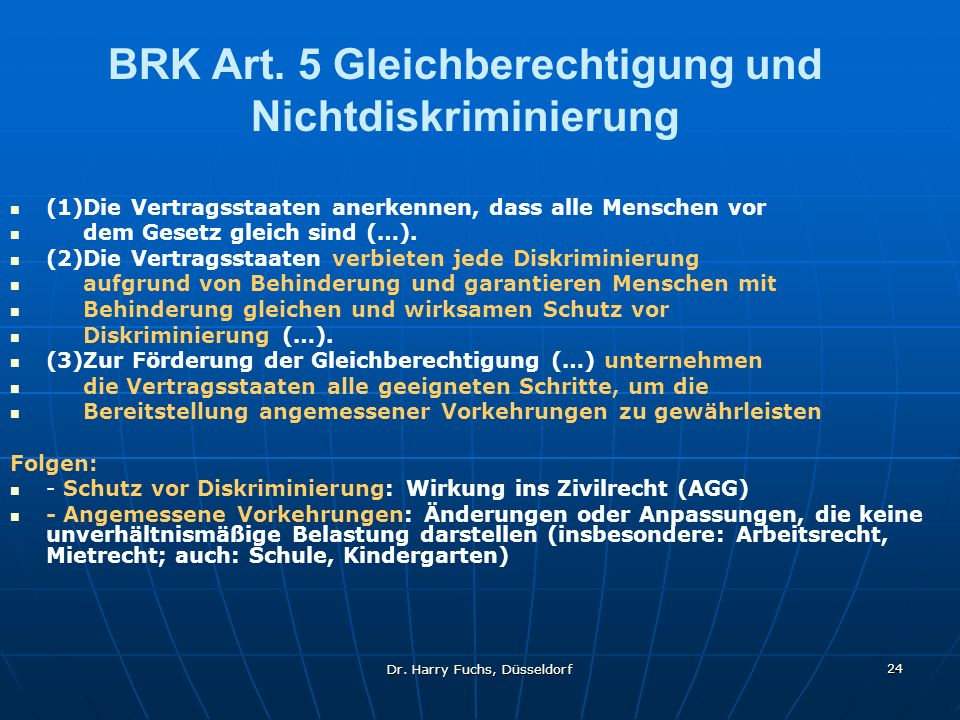 BRK Art. 5 Gleichberechtigung und Nichtdiskriminierung