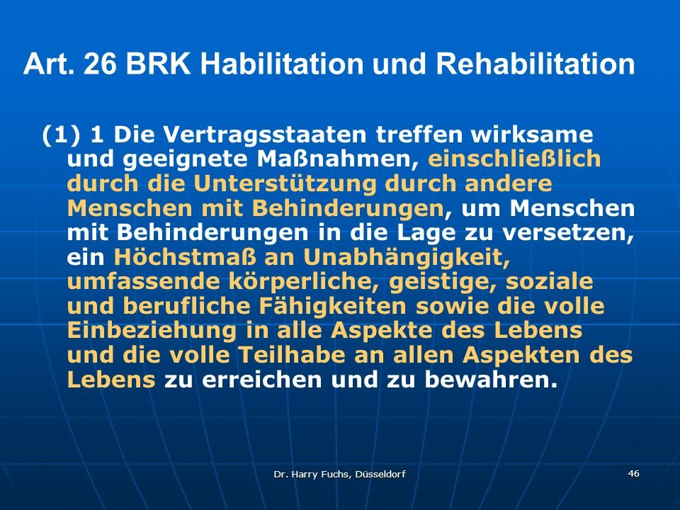 Art. 26 BRK Habilitation und Rehabilitation