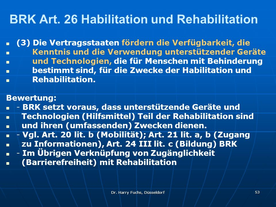 BRK Art. 26 Habilitation und Rehabilitation