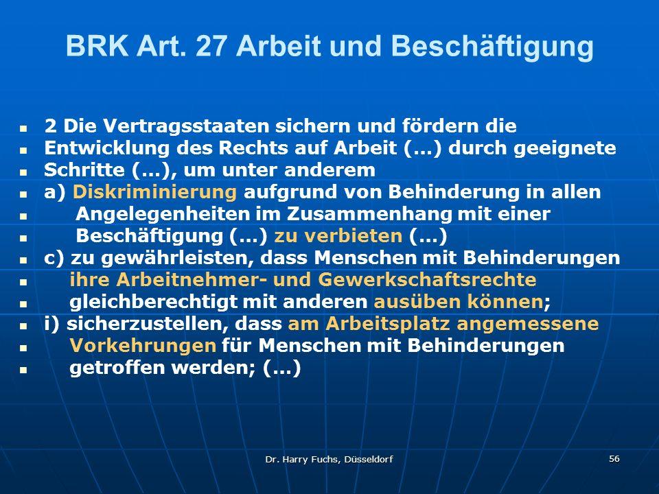 BRK Art. 27 Arbeit und Beschäftigung