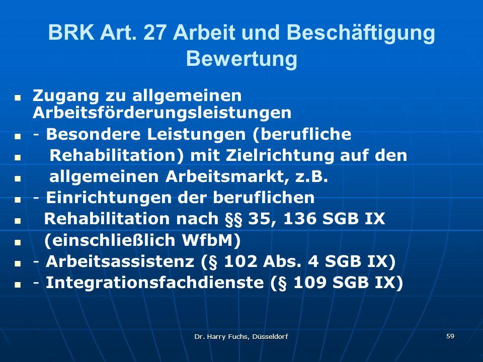 BRK Art. 27 Arbeit und Beschäftigung Bewertung