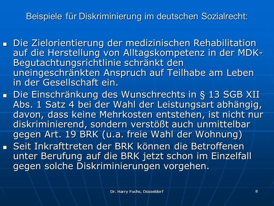 Beispiele für Diskriminierung im deutschen Sozialrecht: