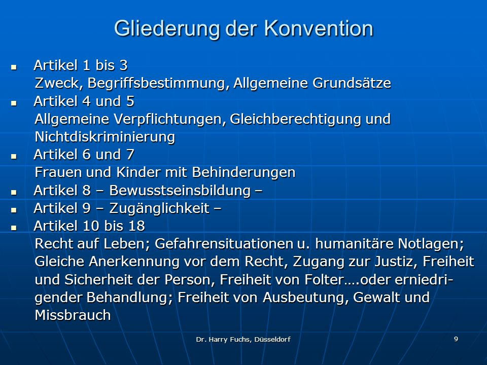 Gliederung der Konvention