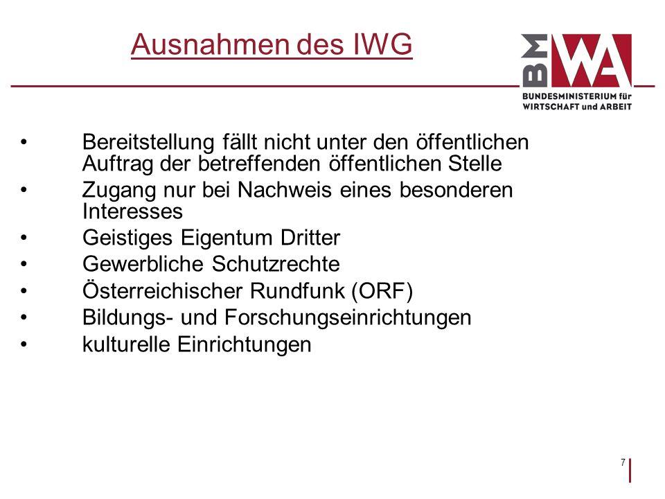 Ausnahmen des IWG Bereitstellung fällt nicht unter den öffentlichen Auftrag der betreffenden öffentlichen Stelle.