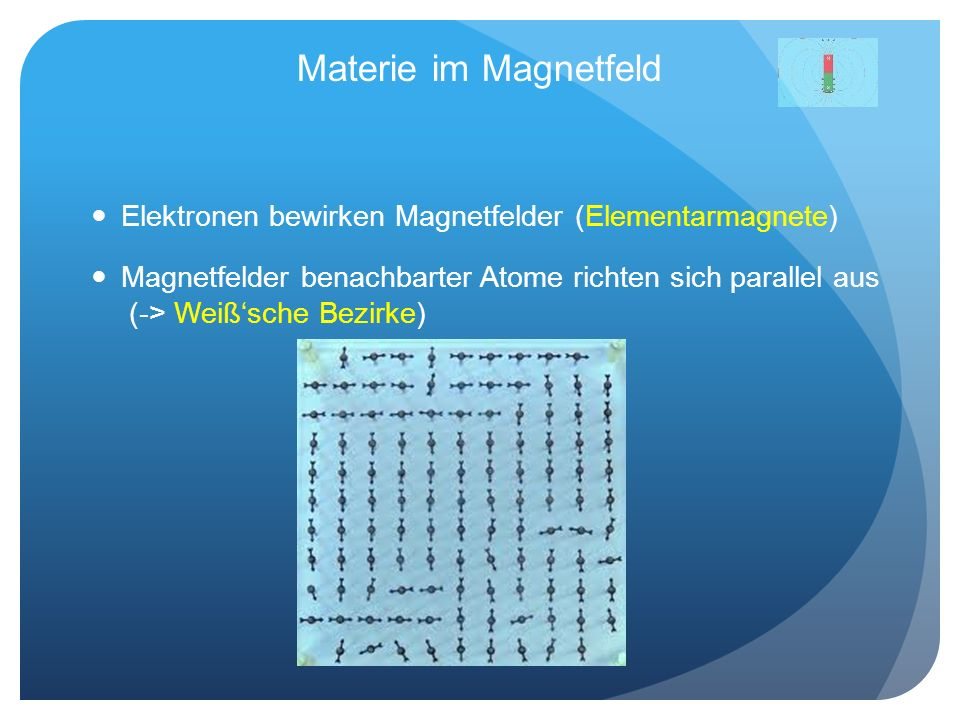 Materie im Magnetfeld Elektronen bewirken Magnetfelder (Elementarmagnete)