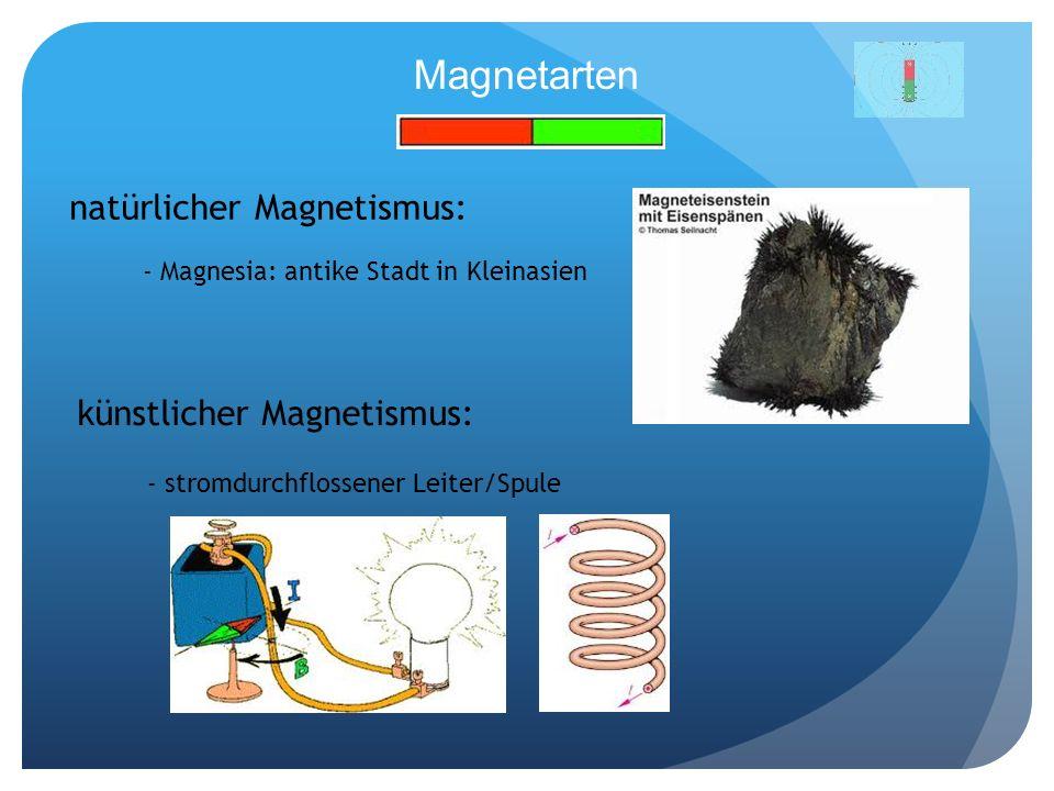 Magnetarten natürlicher Magnetismus: künstlicher Magnetismus: