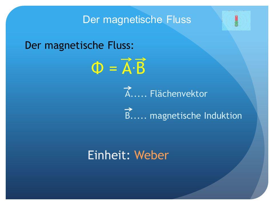 Φ = A.B Einheit: Weber Der magnetische Fluss Der magnetische Fluss: