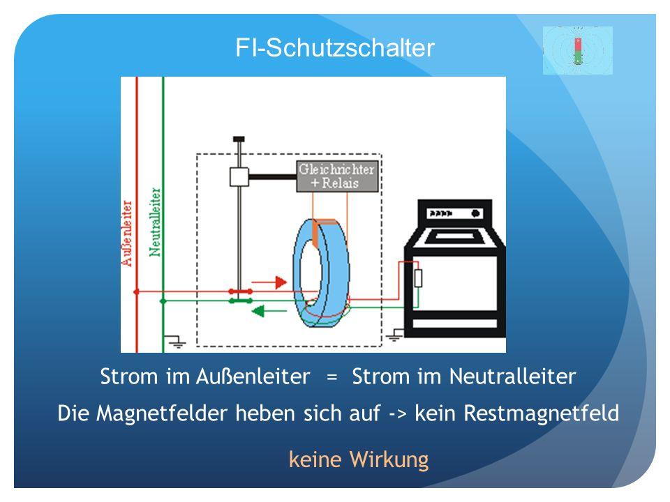 FI-Schutzschalter Strom im Außenleiter = Strom im Neutralleiter