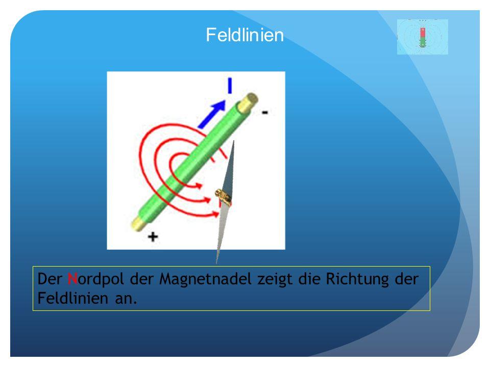 Feldlinien Der Nordpol der Magnetnadel zeigt die Richtung der Feldlinien an.