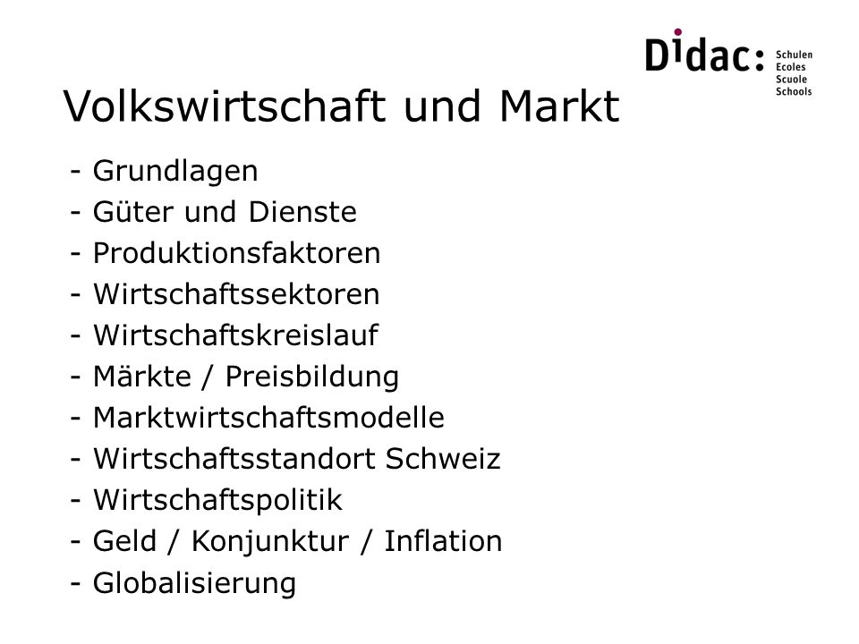 Volkswirtschaft und Markt