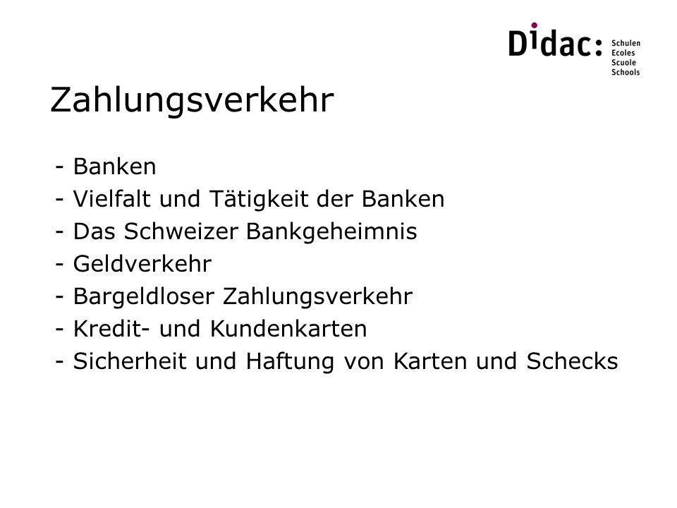 Zahlungsverkehr Banken Vielfalt und Tätigkeit der Banken