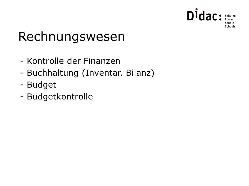 Rechnungswesen Kontrolle der Finanzen Buchhaltung (Inventar, Bilanz)