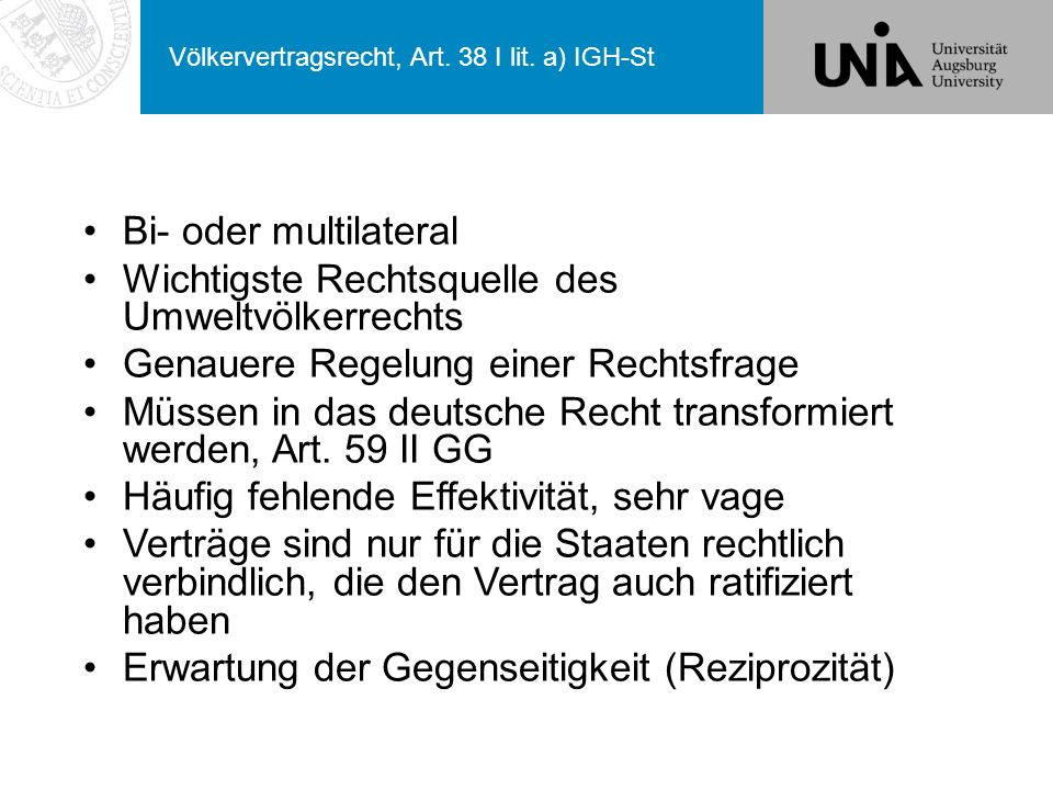Völkervertragsrecht, Art. 38 I lit. a) IGH-St
