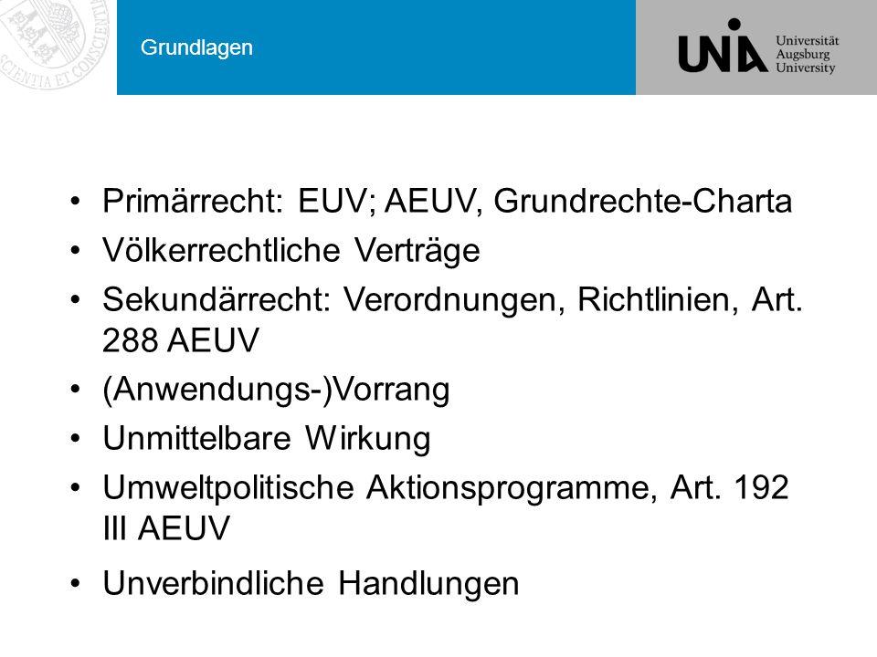Primärrecht: EUV; AEUV, Grundrechte-Charta Völkerrechtliche Verträge