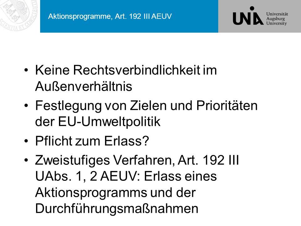 Aktionsprogramme, Art. 192 III AEUV