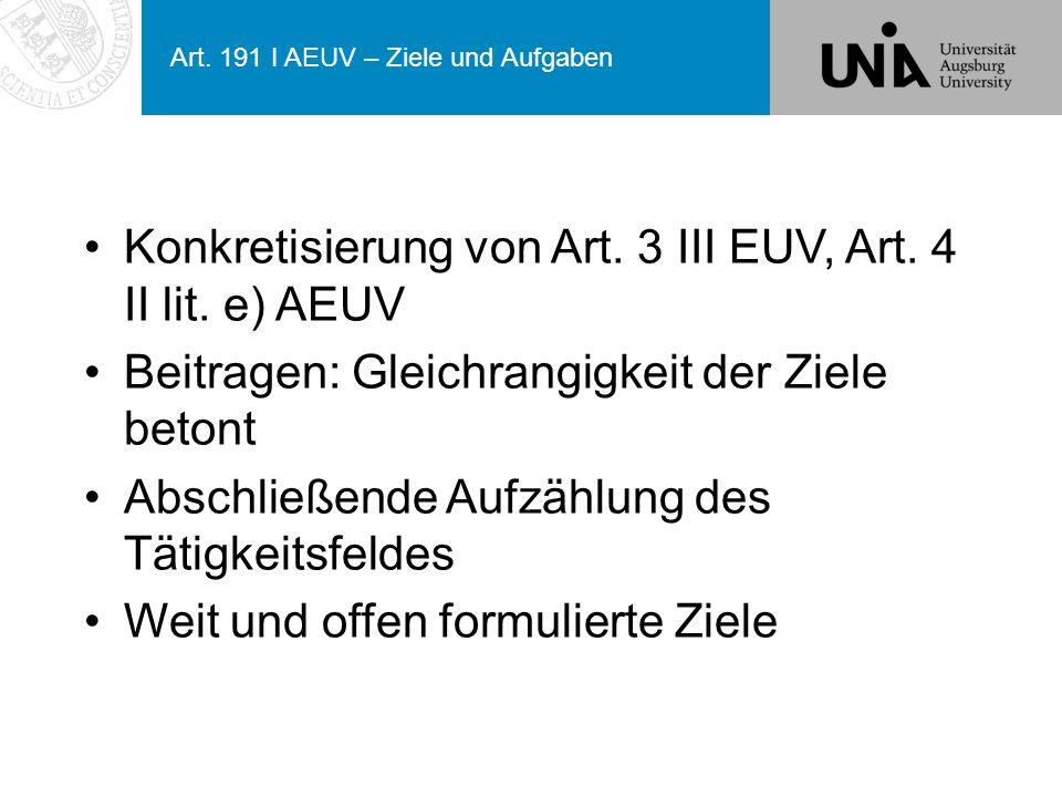 Art. 191 I AEUV – Ziele und Aufgaben