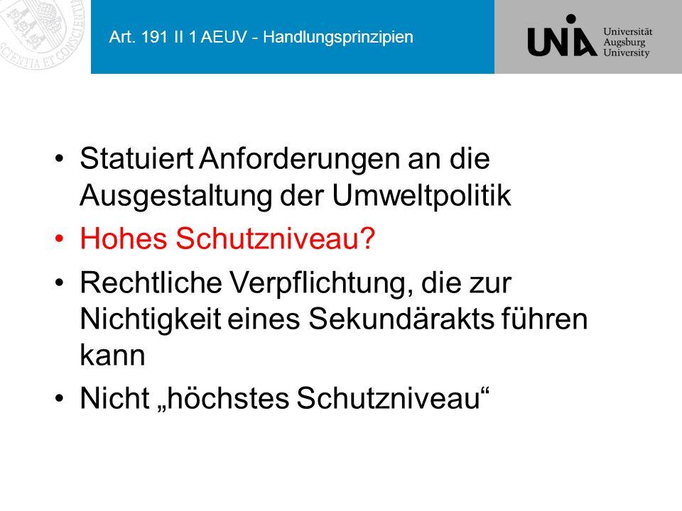 Art. 191 II 1 AEUV - Handlungsprinzipien