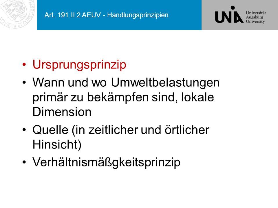 Art. 191 II 2 AEUV - Handlungsprinzipien