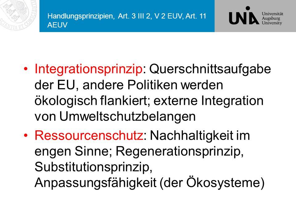 Handlungsprinzipien, Art. 3 III 2, V 2 EUV, Art. 11 AEUV
