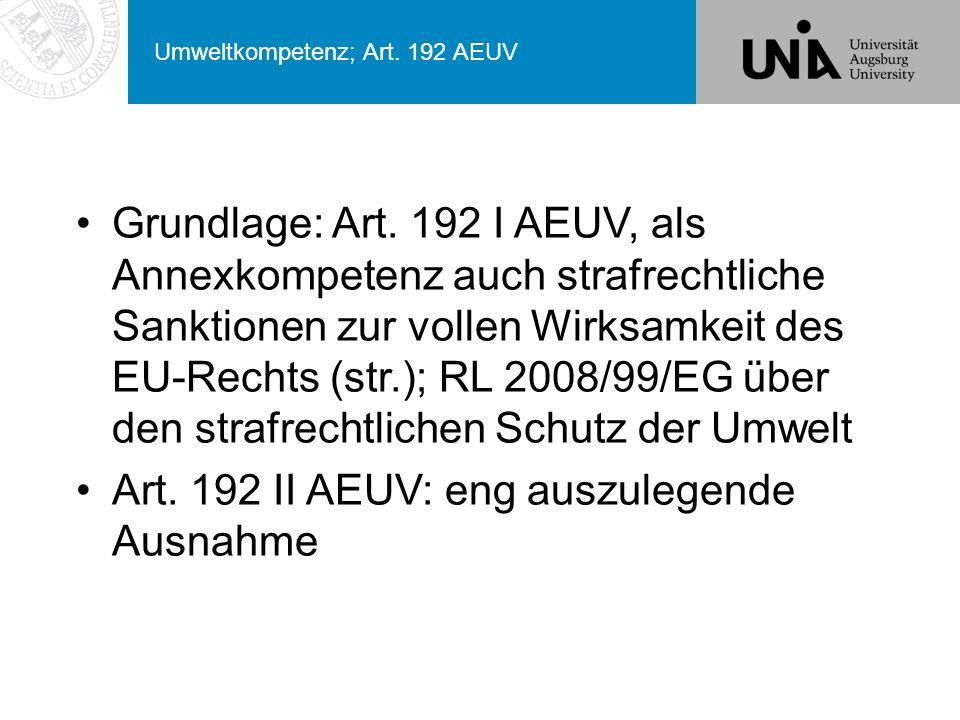 Umweltkompetenz; Art. 192 AEUV