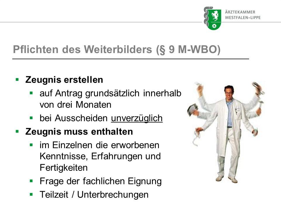 Pflichten des Weiterbilders (§ 9 M-WBO)