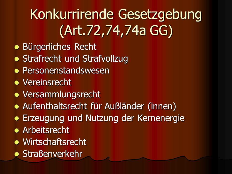 Konkurrirende Gesetzgebung (Art.72,74,74a GG)