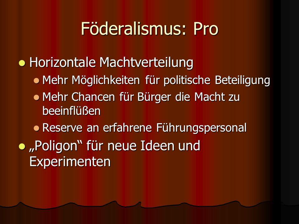 Föderalismus: Pro Horizontale Machtverteilung