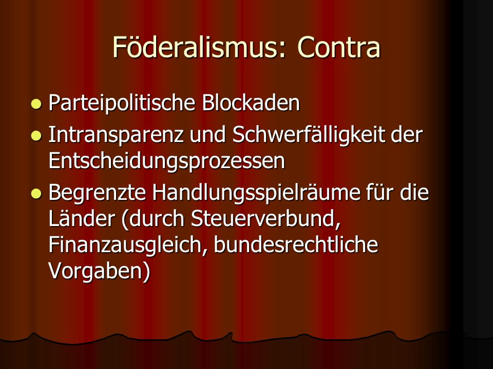 Föderalismus: Contra Parteipolitische Blockaden