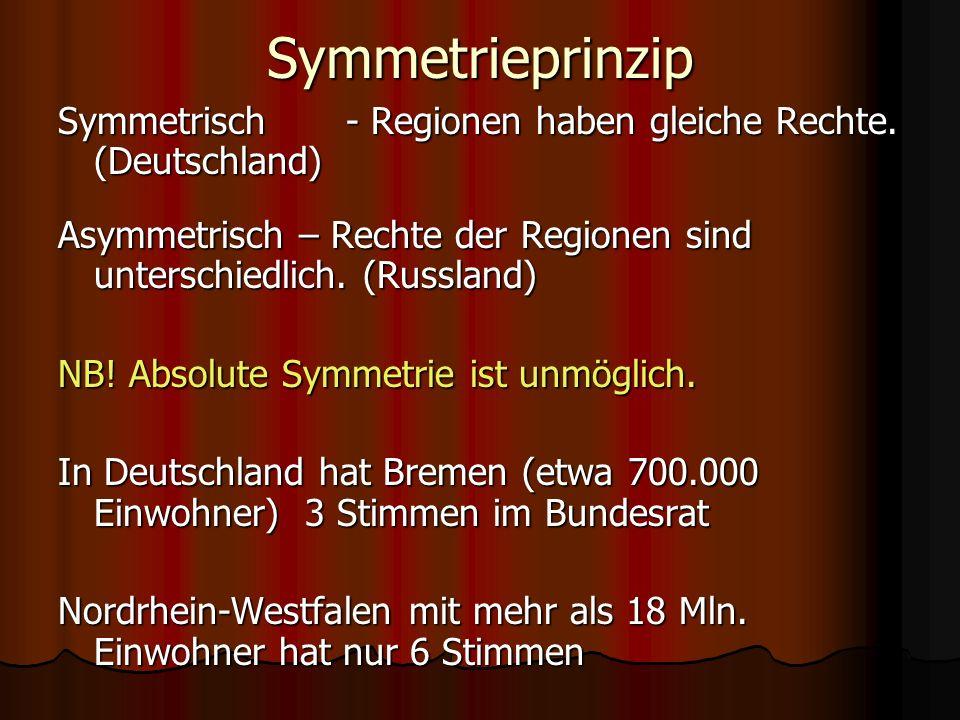 Symmetrieprinzip Symmetrisch - Regionen haben gleiche Rechte. (Deutschland) Asymmetrisch – Rechte der Regionen sind unterschiedlich. (Russland)