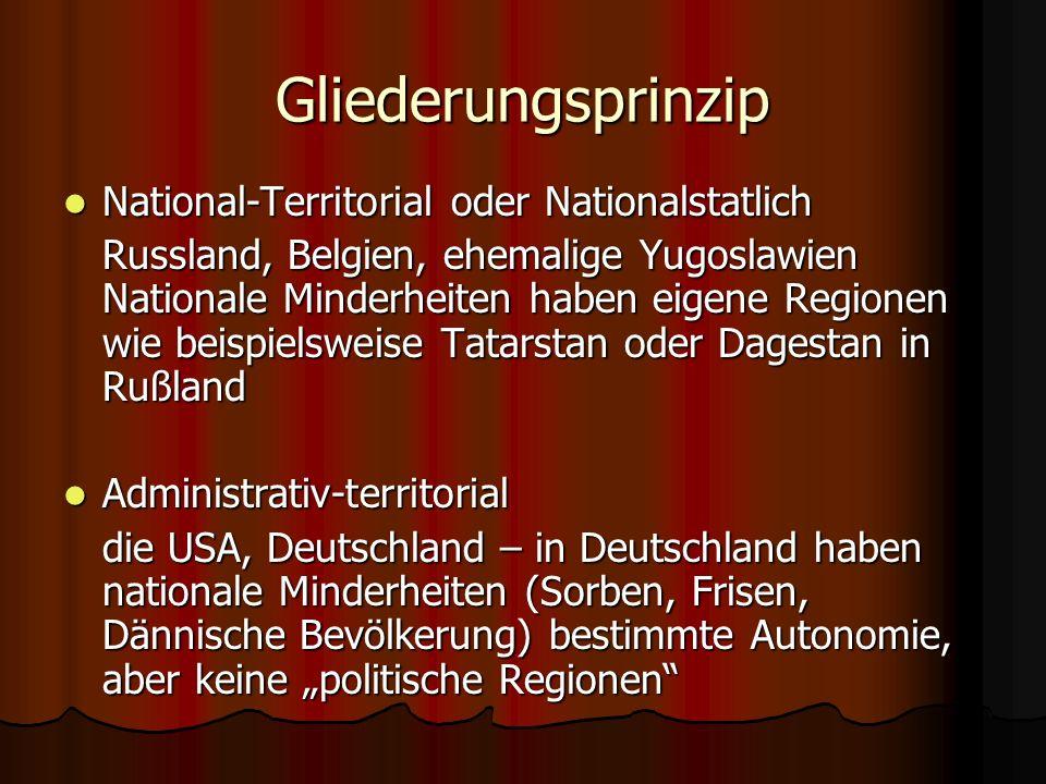 Gliederungsprinzip National-Territorial oder Nationalstatlich