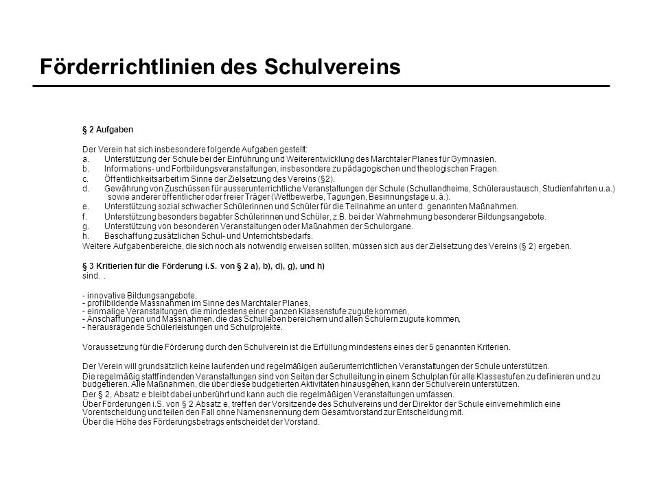 Förderrichtlinien des Schulvereins