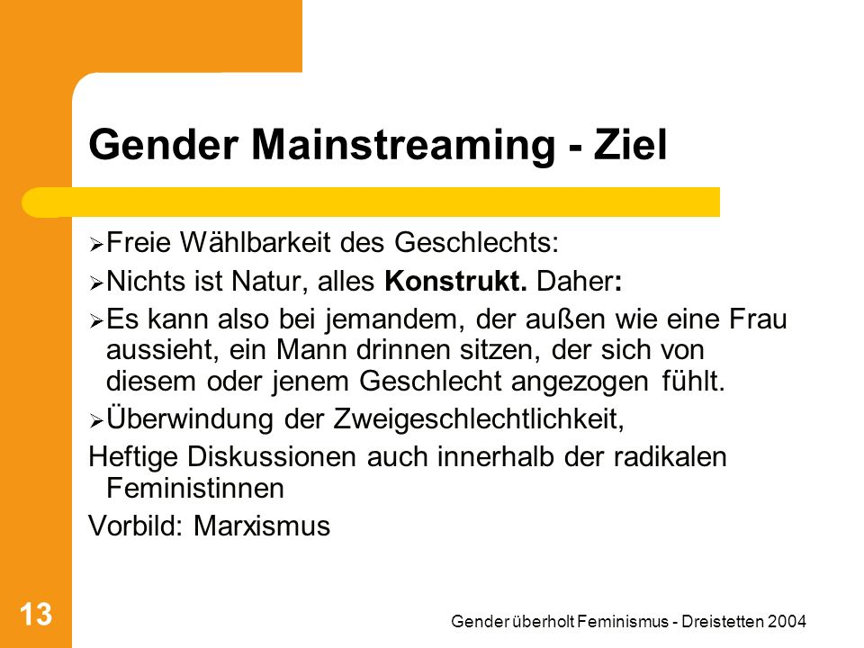 Gender Mainstreaming - Ziel