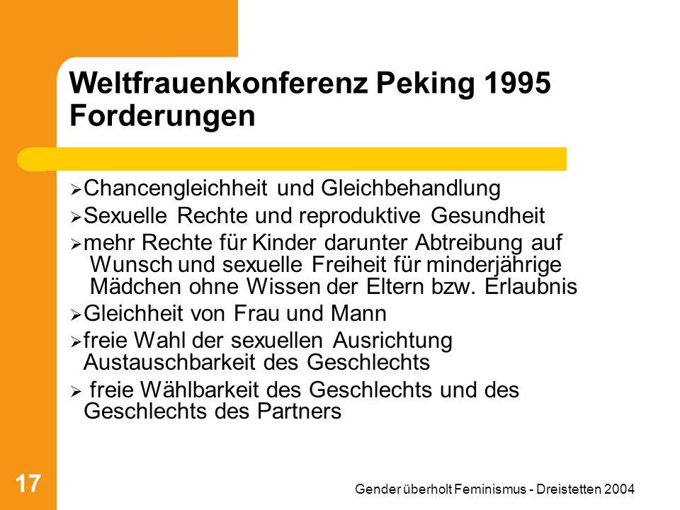 Weltfrauenkonferenz Peking 1995 Forderungen