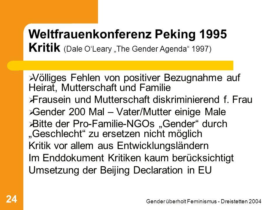 Gender überholt Feminismus - Dreistetten 2004