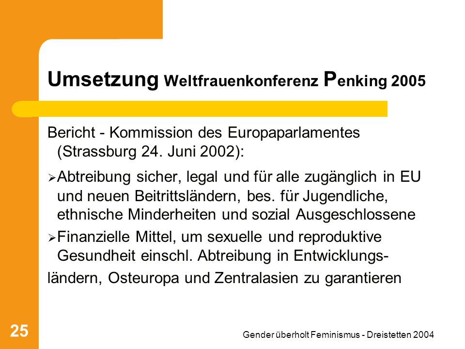 Umsetzung Weltfrauenkonferenz Penking 2005