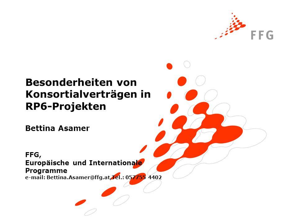Besonderheiten von Konsortialverträgen in RP6-Projekten