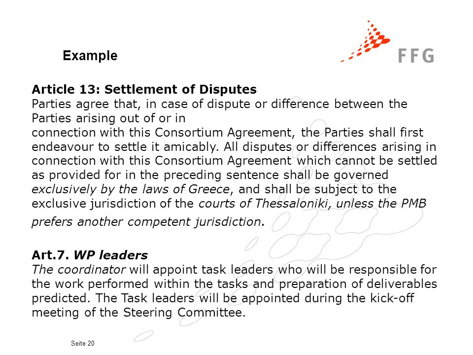 Example Article 13: Settlement of Disputes