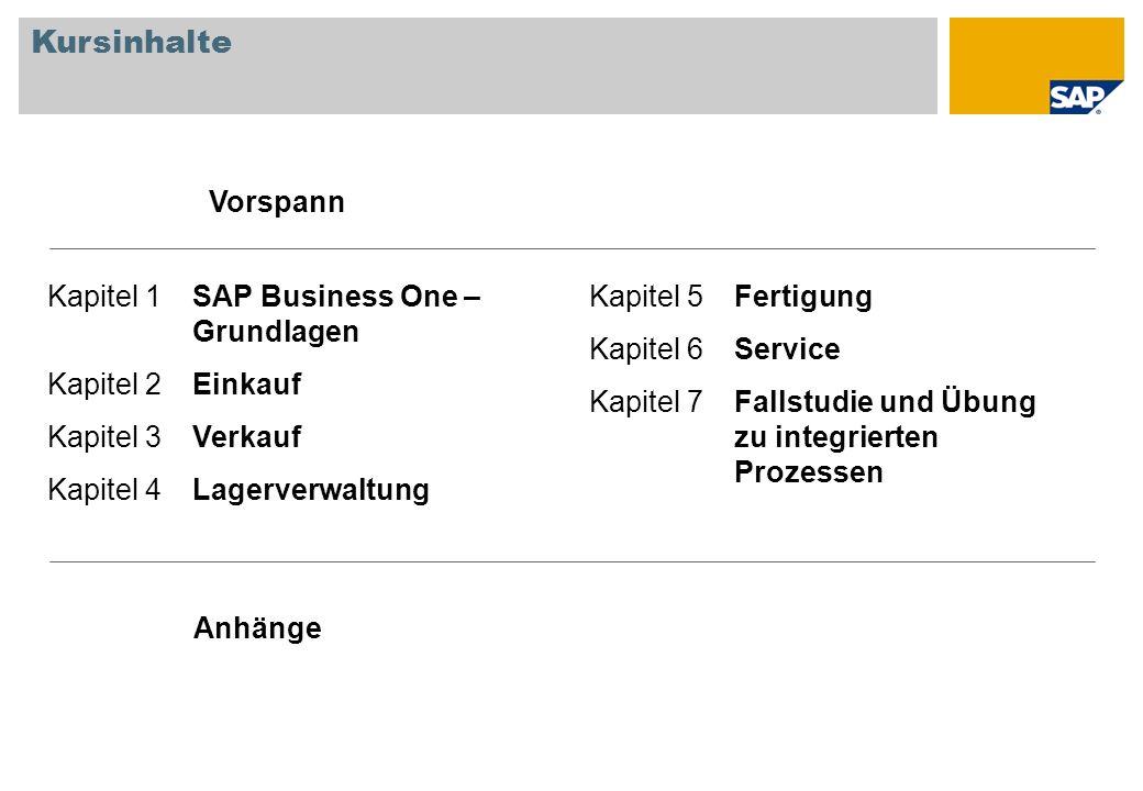 Kursinhalte Vorspann Kapitel 1 SAP Business One – Grundlagen