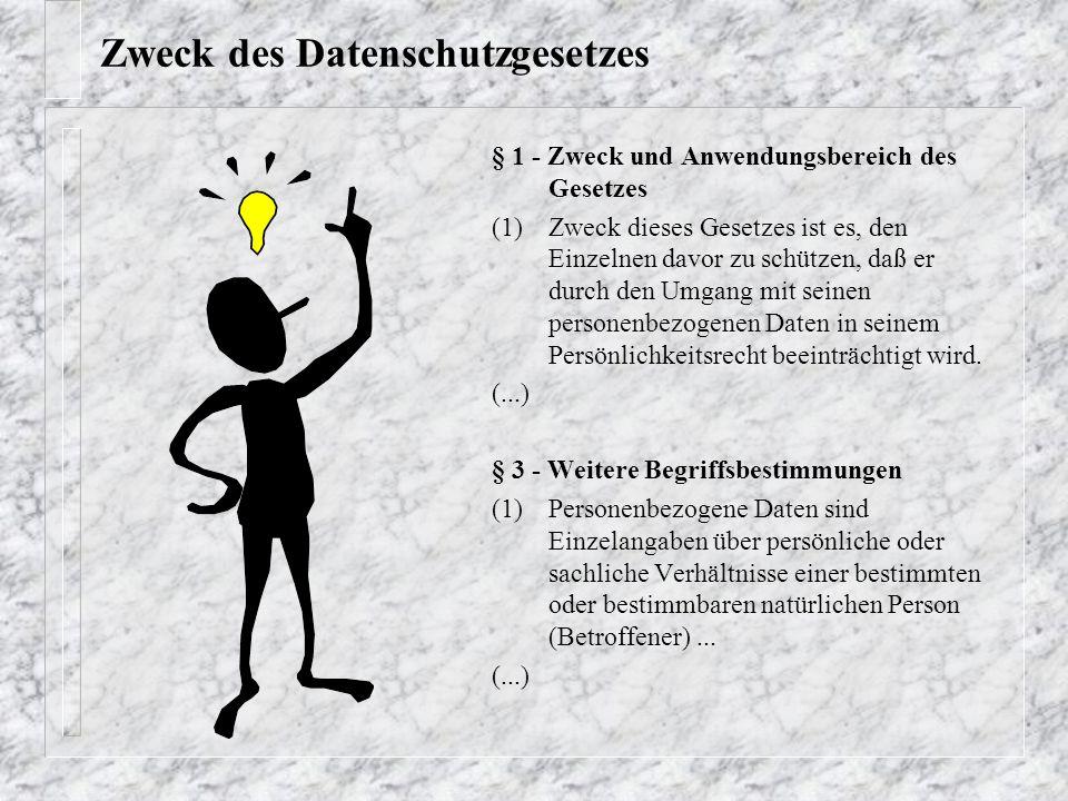 Zweck des Datenschutzgesetzes