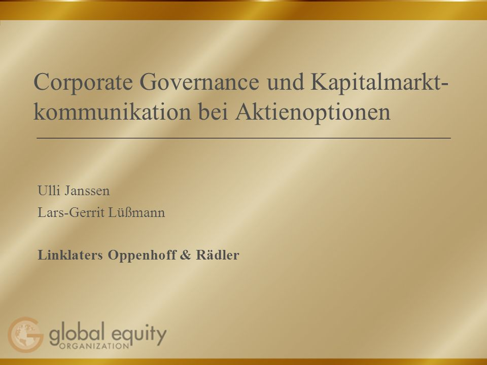 Corporate Governance und Kapitalmarkt-kommunikation bei Aktienoptionen