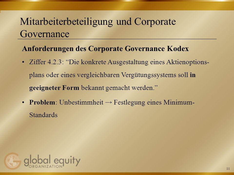 Mitarbeiterbeteiligung und Corporate Governance