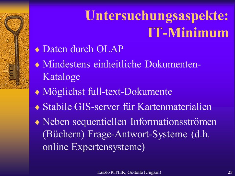 Untersuchungsaspekte: IT-Minimum