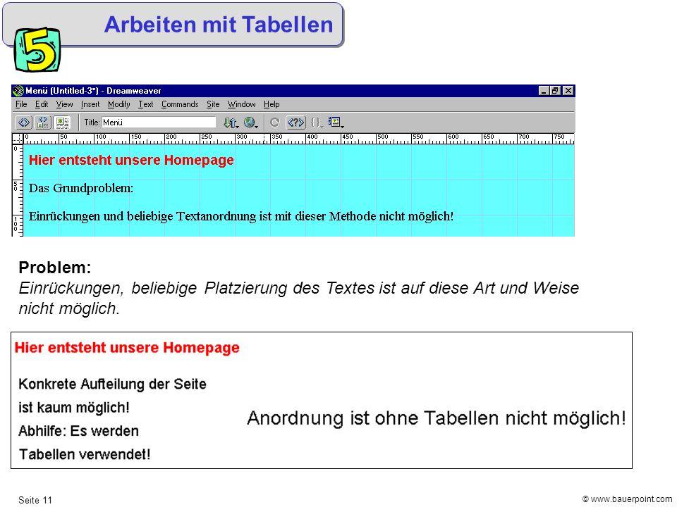 Arbeiten mit Tabellen Problem: