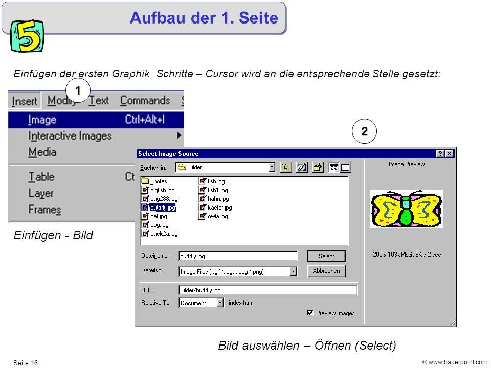 Aufbau der 1. Seite 1 2 Einfügen - Bild