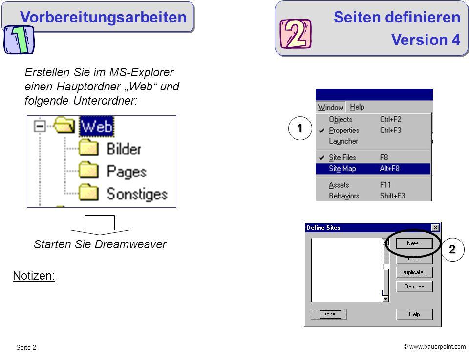 Vorbereitungsarbeiten Seiten definieren Version 4