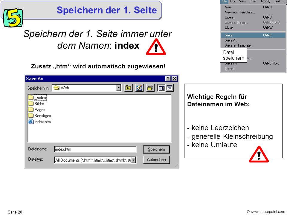 """Zusatz """"htm wird automatisch zugewiesen!"""