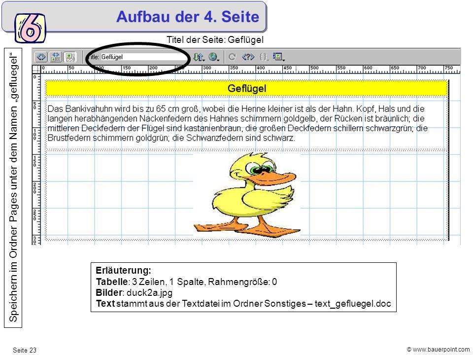 """Aufbau der 4. Seite Titel der Seite: Geflügel. Speichern im Ordner Pages unter dem Namen """"gefluegel"""