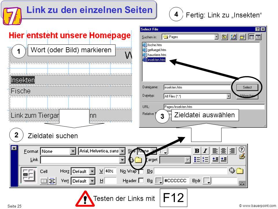 """F12 Link zu den einzelnen Seiten 4 Fertig: Link zu """"Insekten 1"""