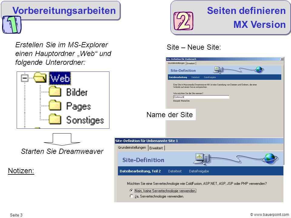 Vorbereitungsarbeiten Seiten definieren MX Version