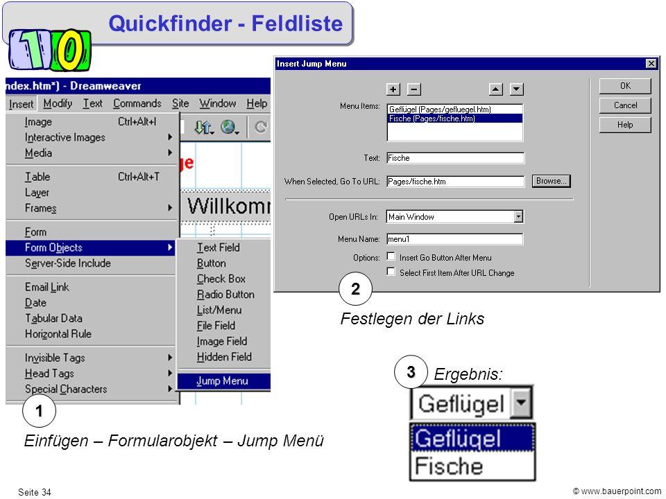 Quickfinder - Feldliste